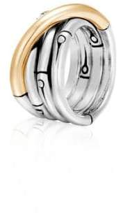 John Hardy Bamboo 18K Yellow Gold& Sterling Silver Band Ring