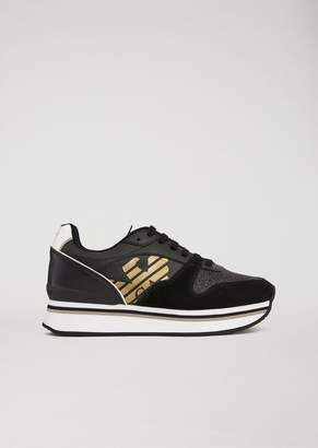 Emporio Armani Sneakers With Glitter And Laminated Logo