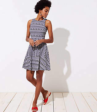 LOFT Geo Textured Flare Dress