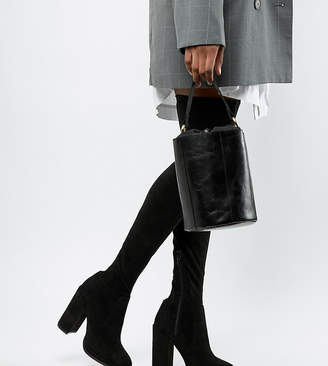 5369ab0fb9fb Asos DESIGN Petite Kassidy heeled thigh high boots
