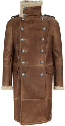 Balmain Shearling Trim Leather Coat