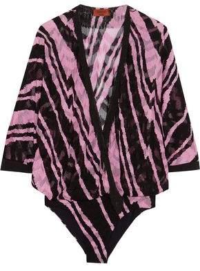 Fringed-Trimmed Crochet-Knit Bodysuit
