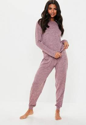 Missguided Purple Marl Long Sleeve Trouser Loungewear Set