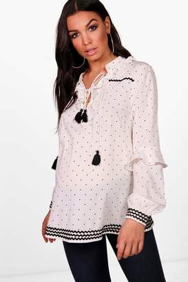 boohoo Maternity Ruffle Collar Polka Dot Smock Top
