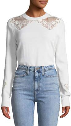 Jonathan Simkhai Lace Applique Crewneck Pullover Sweater