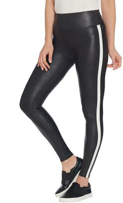 Spanx Faux Leather Black and White Striped Leggings