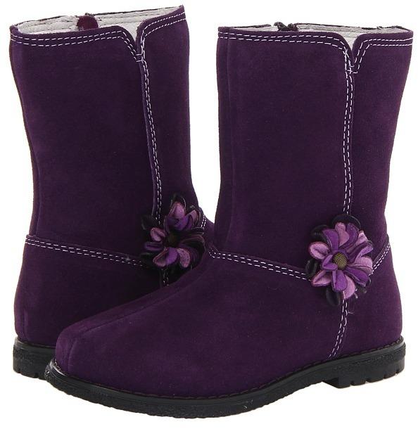 pediped Gina Flex (Toddler/Little Kid) (Eggplant Suede) - Footwear