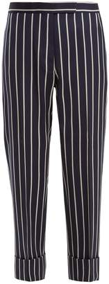 Tapered-leg striped wool-blend cropped trousers