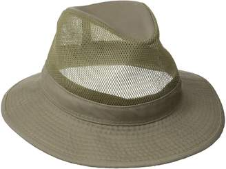 Dorfman Pacific Men's Garment Washed Twill Safari Hat With Mesh Sides