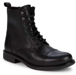 Black & Brown Black Brown Leather Cap Toe Combat Boots