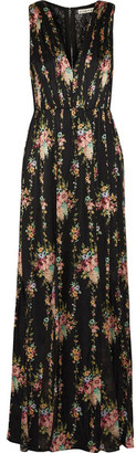Alice + Olivia - Ava Lace-paneled Floral-print Silk Maxi Dress - Black $640 thestylecure.com