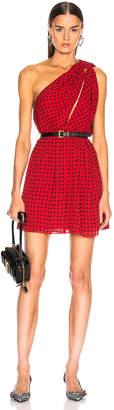 Saint Laurent Star One Shoulder Dress in Red & Black | FWRD