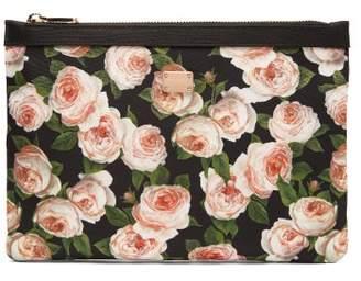 Dolce & Gabbana Rose Print Nylon Pouch - Womens - Multi
