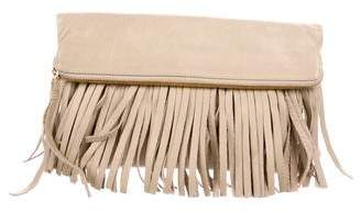 B-Low the Belt Leather Fold-Over Fringe Clutch