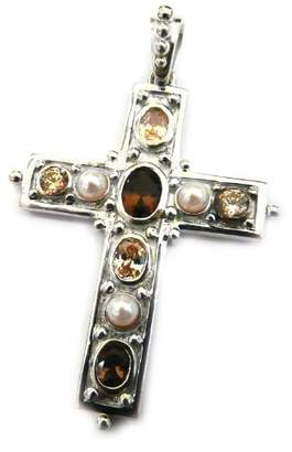Goldmajor Sterling Silver Cross Pendant with Smokey Quartz Champagne Cubic Zirconia and Pearl Stones on 45.7cm Chain