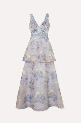 Marchesa Embellished Fil Coupé Tulle Gown - Blue