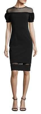 Betsy & Adam Sheer Inset Shift Dress