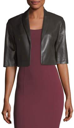 Michael Kors Cropped Plonge Leather Jacket