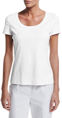 Lafayette 148 New York Short-Sleeve Cotton Tee, Plus Size