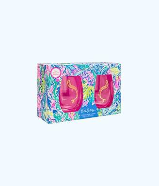 Lilly Pulitzer Stemless Wine Glasses Set