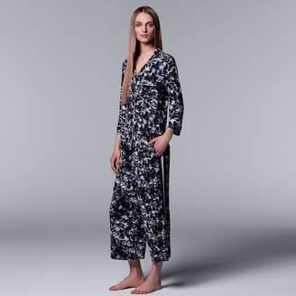 Vera Wang Women's Simply Vera Floral Shirt & Culottes Pajama Set
