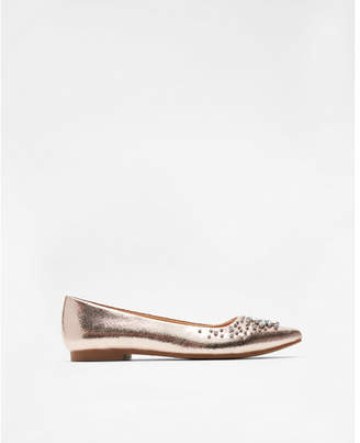 Express metallic embellished pointed toe flats