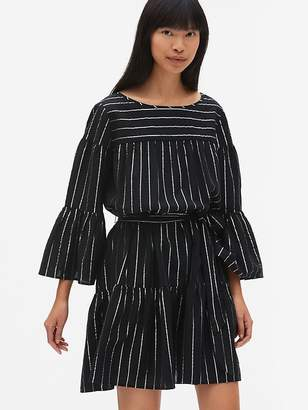 Gap Metallic Stripe Bell-Sleeve Flutter Dress