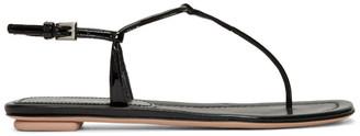 Prada Black Patent T-Strap Sandals