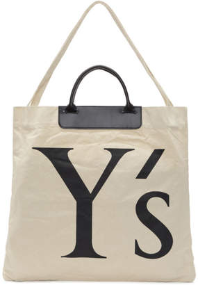 Y's Ys Ivory Canvas and Leather Logo Tote