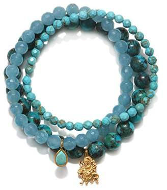 Satya Jewelry Women's Turquoise & Angelite Gold Durga Stretch Bracelet Set