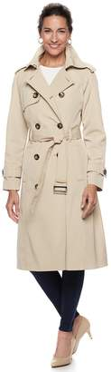 London Fog Tower By Women's TOWER by Double-Breasted Belted Trench Coat
