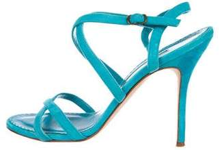 Manolo Blahnik Suede Ankle Strap Sandals