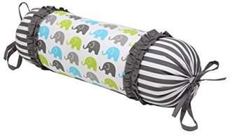 Bacati Elephants Neck Roll Pillow, Aqua/Lime/Grey
