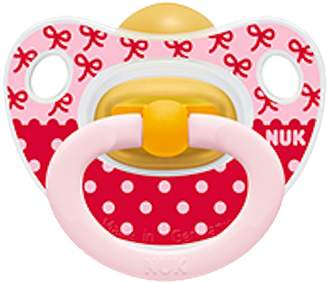 NUK Happy Kids Baby Pacifier 0-6 M Latex Girl Red Pink Dots Soother Newborn 4255-10