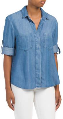 Split Back Tencel Button Down Shirt