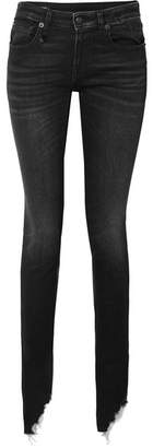 R 13 Kate Distressed Low-rise Skinny Jeans - Black