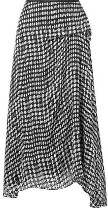 Theory Draped Polka-dot Fil Coupé Chiffon Midi Skirt - Black
