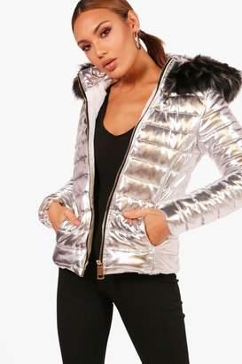 boohoo Short Faux Fur Hood Puffer Jacket