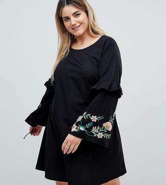 Junarose Embroidered Dress With Frill Detail
