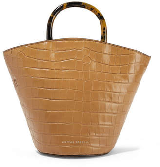 Loeffler Randall Agnes Fan Croc-effect Leather Tote - Camel