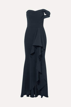 Marchesa Off-the-shoulder Draped Crepe Gown - Navy