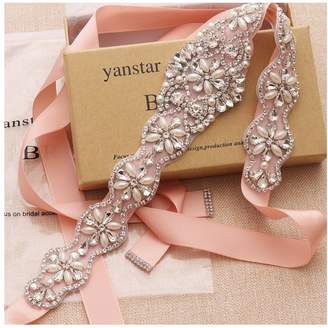 Yanstar Wedding Bridal Belt With Silver Rhinestone White Ribbon Sashes For Wedding Gown