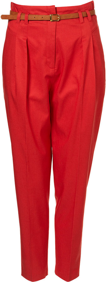 Red Belted Pleat Front Tapered Trousers