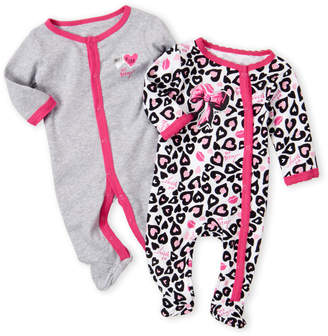 Betsey Johnson Newborn Girls) Two-Pack Cheetah & Solid Footie Set
