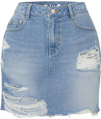 Sjyp Distressed Denim Mini Skirt - Mid denim