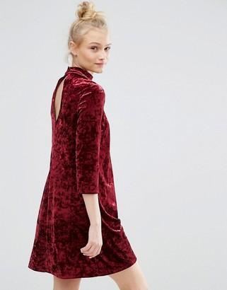 Monki Keyhole Neck Velvet Skater Dress $38 thestylecure.com