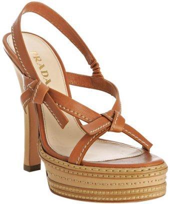 Prada natural leather tie detail platform sandals