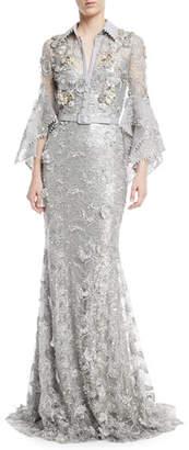Badgley Mischka Ruffle-Sleeve Embroidered Lace Shirtwaist Gown