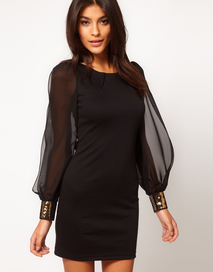Asos Body-Conscious Dress with Embellished Chiffon Sleeve