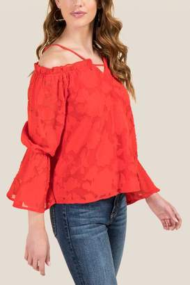 francesca's April Floral Organza Off Shoulder Top - Red
